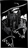 Skandinavier-Gott Odin With 2 Raben Stockfoto