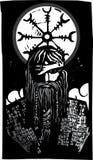 Skandinavier-Gott Odin und Rad-Symbol Lizenzfreie Stockfotos
