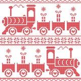 Skandinavisch Kerstmis Noords Naadloos Patroon met justrein, giften, sterren, sneeuwvlokken, harten, sneeuw, in dwarssteekpatroon Stock Foto's