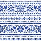 Skandinavisch naadloos vectorpatroon met bloemen en vogels, Noords volkskunst herhaald marineblauw ornament Stock Foto's