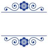 Skandinavisch naadloos vectorpatroon met bloemen en vogels, Noords volkskunst herhaald marineblauw ornament Stock Afbeelding