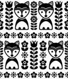 Skandinavisch naadloos vectorpatroon op zwart-witte, Noordse achtergrond met vossen en bloemen, volkskunstontwerp Stock Afbeeldingen