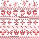 Skandinavisch noords Kerstmispatroon met rendier, konijnen, Kerstmisbomen, engelen, boog, hart, in dwarssteek Stock Foto
