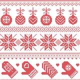 Skandinavisch Noords naadloos Kerstmispatroon met Kerstmissnuisterijen, handschoenen, sterren, sneeuwvlokken, Kerstmisornamenten, Stock Foto