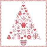 Skandinavisch Noors stikkend Kerstmispatroon van de stijlwinter royalty-vrije illustratie