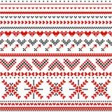 Skandinavisch patroon met harten Stock Afbeelding
