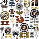 Skandinavisch stijlhand getrokken naadloos vectorpatroon op witte achtergrond vector illustratie