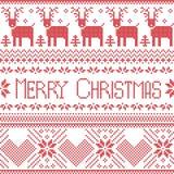 Skandinavisch vrolijk die Kerstmisteken door noords patroon in dwarssteek met rendier, sneeuwvlok, boom, sterren, decoratief FL w stock illustratie