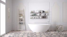 Skandinavische badkamers, klassiek wit uitstekend binnenlands ontwerp royalty-vrije stock afbeeldingen