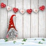 Skandinavische Kerstmis traditionele gnoom, Tomte, illustratie Stock Afbeeldingen
