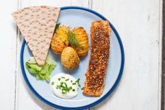 Skandinavische Lachse mit Kartoffeln und in Essig eingelegter Gurke Lizenzfreie Stockbilder