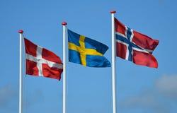Skandinavische Markierungsfahnen lizenzfreies stockfoto