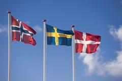 Skandinavische Markierungsfahnen Stockfoto