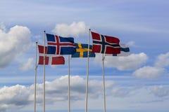 Skandinavische Markierungsfahnen Stockbild