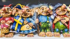 Skandinavische Schleppangeln Andenkenfigürchen von Schweden Stockbilder