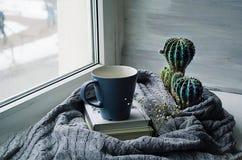 Skandinavische stijl, een kop op een stapel van boeken op een gebreide textuur op de achtergrond van een venster Royalty-vrije Stock Afbeeldingen
