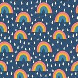 Skandinavische van stijlregenbogen en regendruppels naadloze vectorpatroonjonge geitjes royalty-vrije illustratie