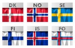 Skandinavische Vlaggen Stock Afbeeldingen