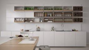 Skandinavische weiße Küche, minimalistic Innenraum stockfoto