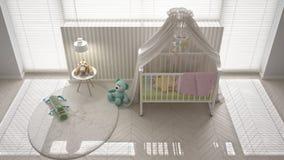 Skandinavische witte kindslaapkamer met luifelvoederbak, minimale inter Stock Fotografie