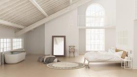 Skandinavische witte slaapkamer, zolder binnenlands ontwerp, minimalistic I royalty-vrije stock foto's