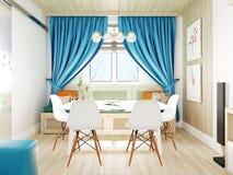 Skandinavische Wohnzimmerfensteransicht Stockfotografie