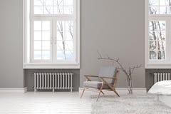 Skandinavischer grauer leerer Innenraum mit Aufenthaltsraumlehnsessel, -fenster und -teppich vektor abbildung