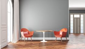 Skandinavischer Innenraum des leeren Raumes mit grauen Wänden, Rot, rosa Lehnsesseln, Tabelle, Vorhang und Fenster vektor abbildung