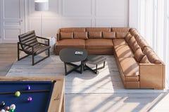Skandinavischer Wohnzimmerinnenraum mit ledernem Sofa und Lehnsessel lizenzfreie stockbilder