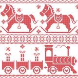 Skandinavisches nahtloses nordisches Weihnachtsmuster mit Schaukelpferd, Sterne, Schneeflocken, Herzen, Weihnachtsgeschenke, Bere Stockfotos