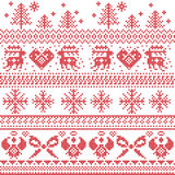 Skandinavisches Nordicweihnachtsmuster mit Ren, Kaninchen, Weihnachtsbäume, Engel, Bogen, Herz, im Kreuzstich stockfoto