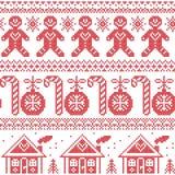 Skandinavisches nordisches nahtloses Muster mit Ingwerbrotmann, Süßigkeit, Ingwerhaus, Flitter, Weihnachtsbäume im roten Kreuz nä Lizenzfreies Stockfoto