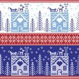 Skandinavisches nordisches Weihnachtsnahtloses Muster mit Lebkuchenhaus, Schnee, Ren, Sankt Pferdeschlitten, Bäume, Stern, Schnee Lizenzfreies Stockbild
