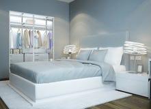Skandinavisches Schlafzimmerdesign stock abbildung