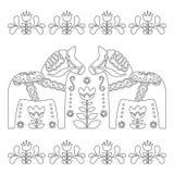 Skandinavisk översiktsvektordesign, svensk Dala eller dalahästmodell, färgläggningbok för vuxna människor Arkivfoto
