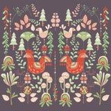 Skandinavisk djur stilillustration som är blom- och Arkivbilder