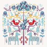 Skandinavisk djur stilillustration som är blom- och Royaltyfria Bilder
