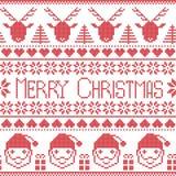 Skandinavisk glad Christams modell med Santa Claus, xmas-gåvor, renar, dekorativa prydnader, snöflingor, stjärnor, xmas tr Royaltyfri Foto