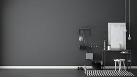 Skandinavisk ingångslobbykorridor med tabellen, stolen, matta och M Arkivbild