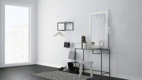 Skandinavisk ingångslobbykorridor med tabellen, stolen, matta och M arkivfoto