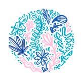 Skandinavisk plan abstrakt rund prydnad för bukett för färgblommaört Flora för vektorträdgårdsommar för att gifta sig inbjudan vektor illustrationer