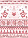 Skandinavisk stil inspirerad jul och sömlös modell för festlig vinter i den arga häftklammeren som sticker stil med Xmas-träd, än vektor illustrationer