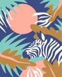 Skandinavisk stilbakgrund med palmblad och sebran Tropiskt kort också vektor för coreldrawillustration royaltyfri illustrationer