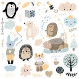 Skandinavisk uppsättning för modell för ungeklotterbeståndsdelar av djur och tecken för gullig färg löst: pingvin igelkott, räv,  stock illustrationer