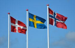 Skandinaviska flaggor royaltyfri foto