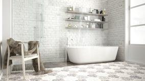 Skandinaviskt badrum, klassisk vit tappningdesign royaltyfria bilder