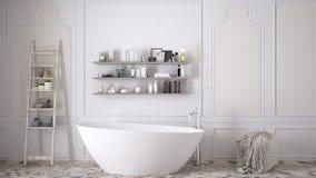 Skandinaviskt badrum, klassisk vit tappninginredesign royaltyfri bild