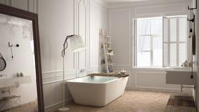 Skandinaviskt badrum, vit minimalistic design, hotellbrunnsortreso royaltyfria foton