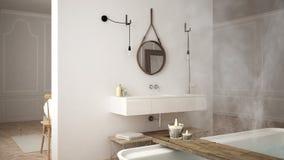 Skandinaviskt badrum, vit minimalistic design, hotellbrunnsortreso stock illustrationer