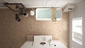 Skandinaviskt badrum, vit minimalistic design, hotellbrunnsortreso royaltyfri fotografi